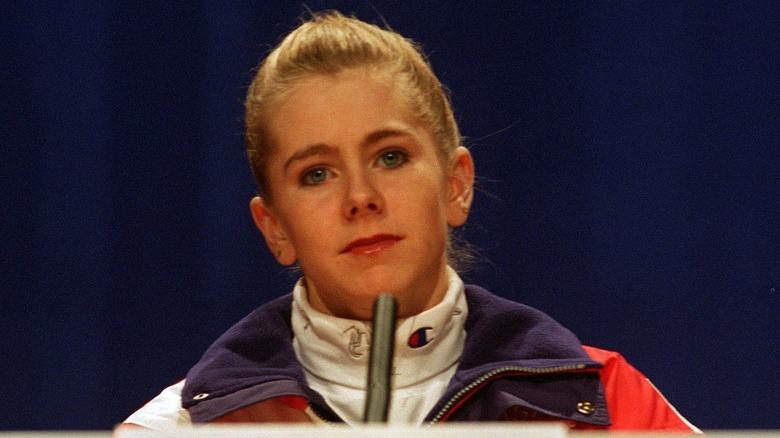 Tonya Harding at a press conference