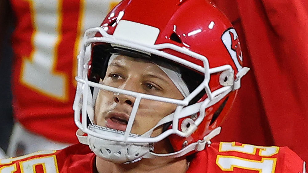 Patrick Mahomes watches the action during Super Bowl LV