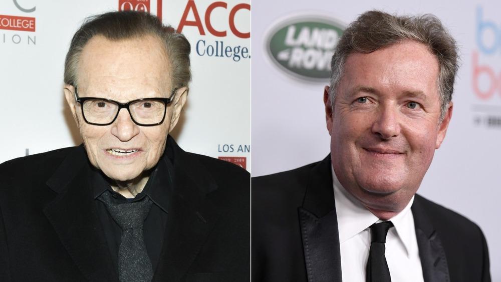 Larry King and Piers Morgan posing in split image
