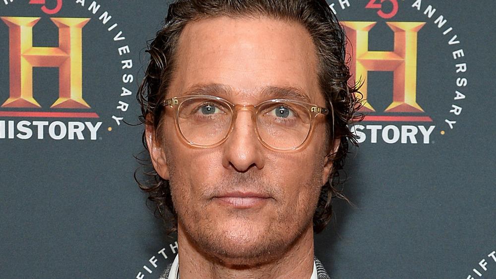 Matthew McConaughey in blue shirt
