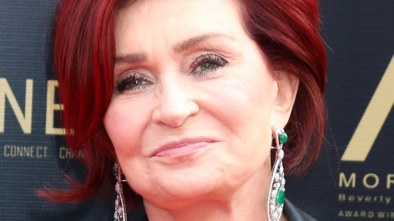 Sharon Osbourne with a serious expression