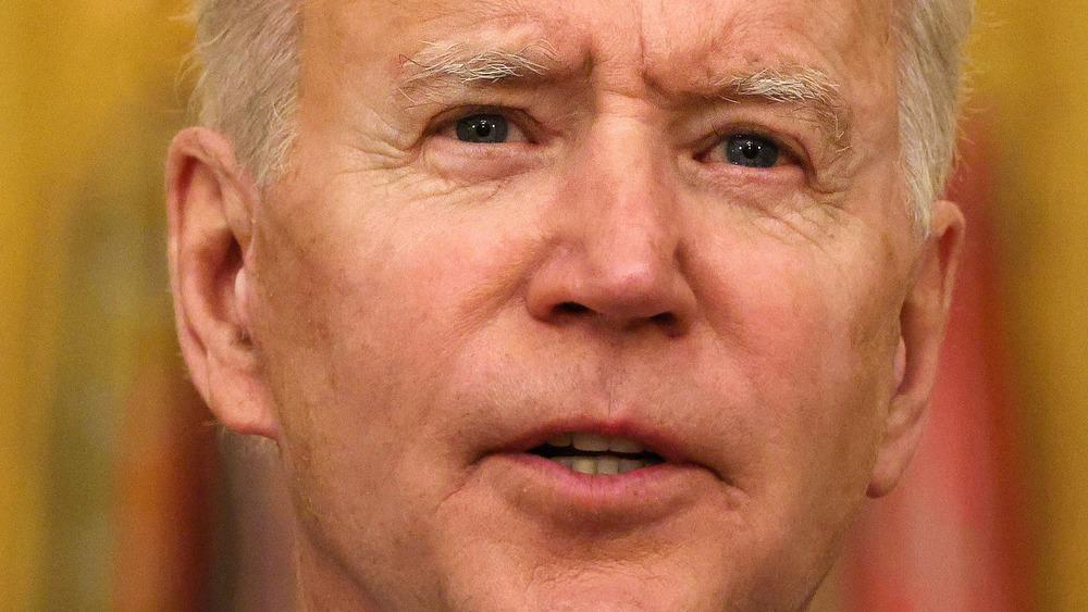 President Joe Biden looking serious