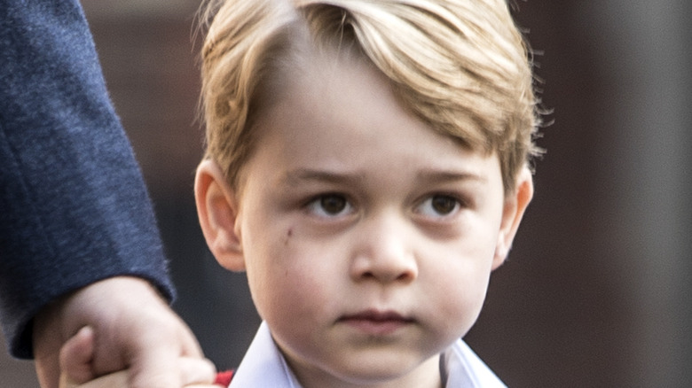 Young Prince George with serious expression