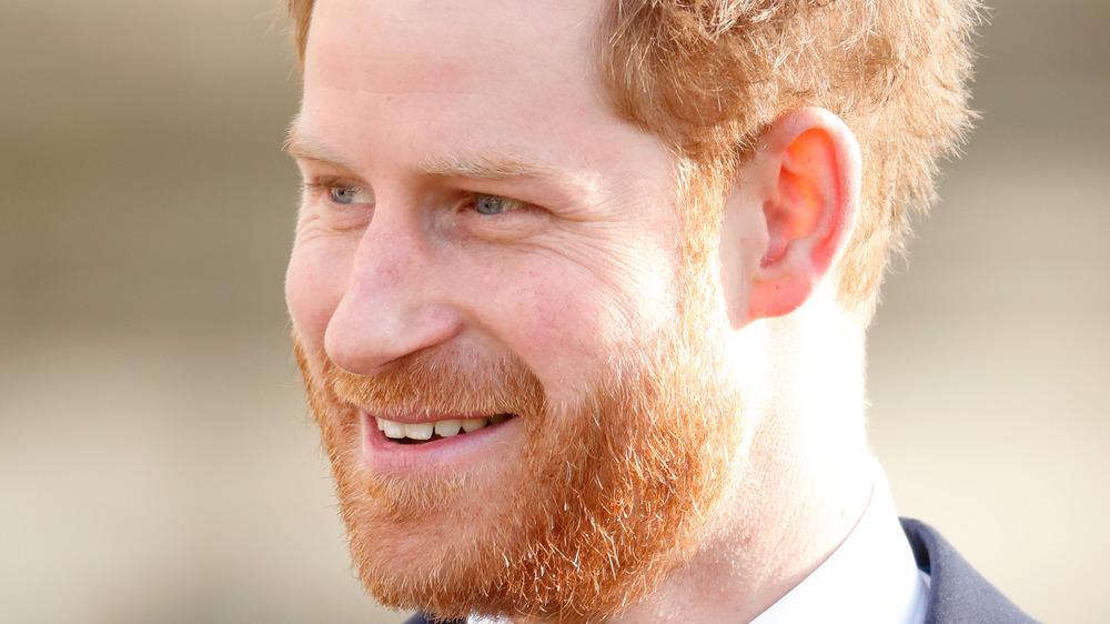 Prince Harry walking outside