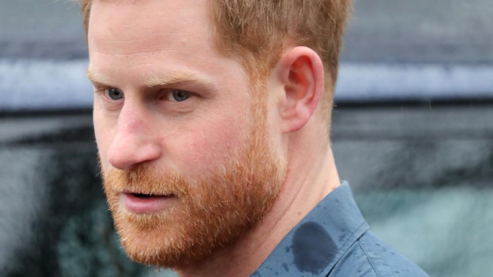 Prince Harry, facial hair, 2020 photo, looking upset