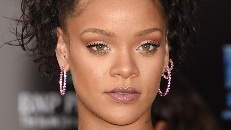 Rihanna with a serious expression