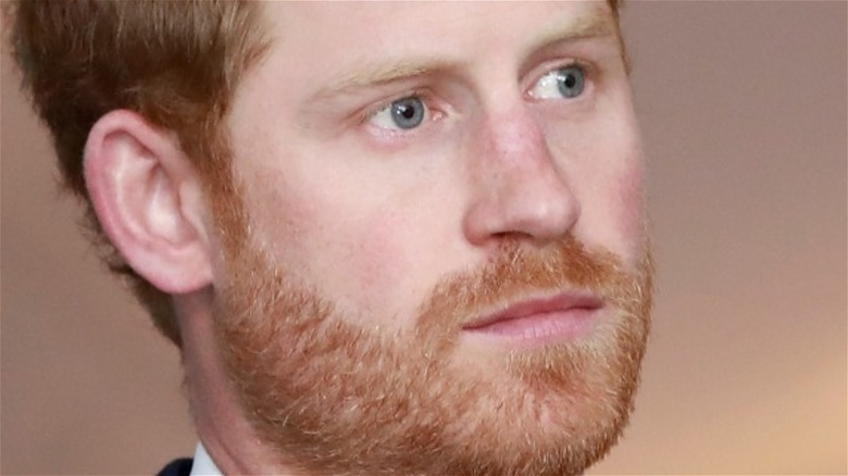 Prince Harry staring quietly