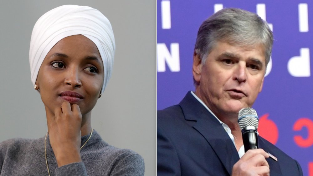 Ilhan Omar at a conference in 2019; Sean Hannity at a convention in 2019
