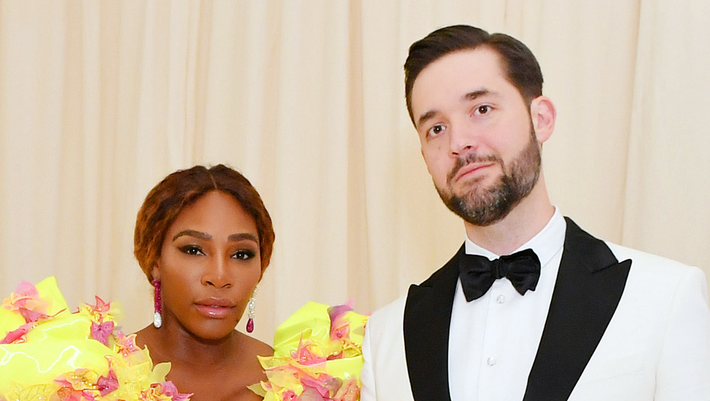 Serena Williams and Alexis Ohanian Sr. looking serious