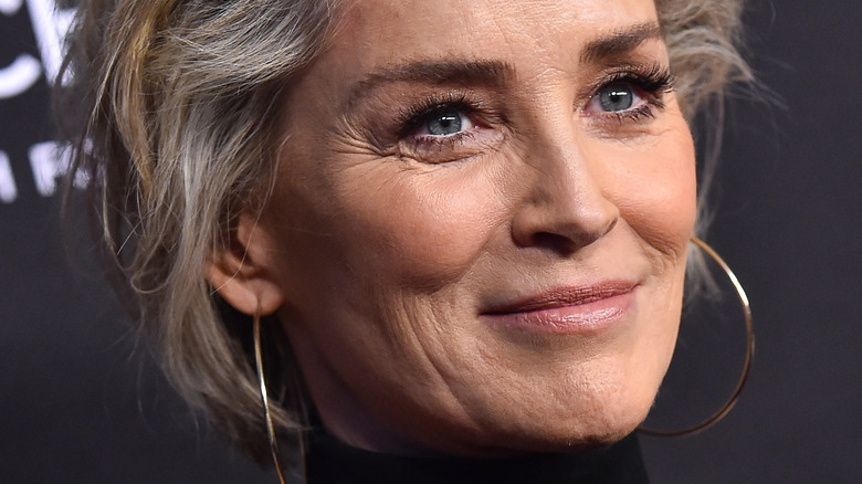 Sharon Stone smiling in 2019