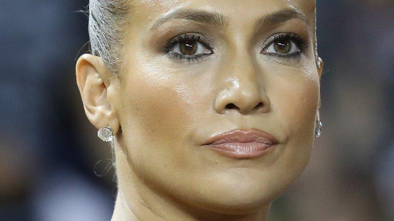 Jennifer Lopez looking at camera