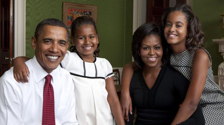 Barack, Sasha, Michelle, and Malia Obama
