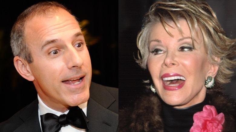 Matt Lauer surprised (left), Joan Rivers laughing (right)