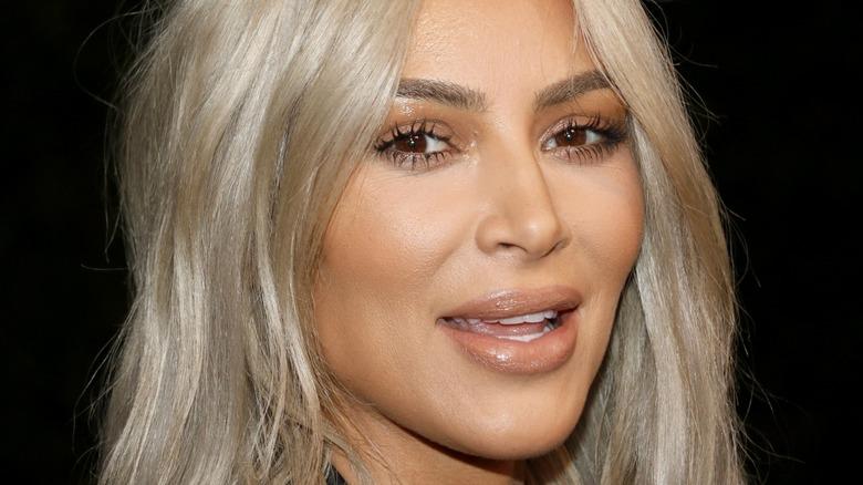 Kim Kardashian with blonde hair in 2017