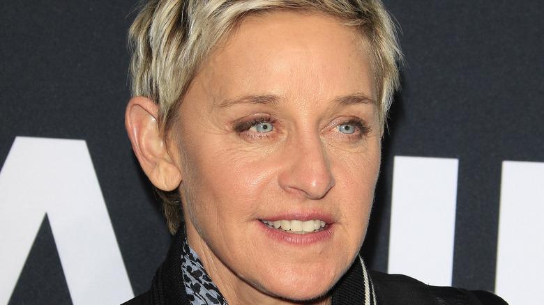 Ellen DeGeneres smirking