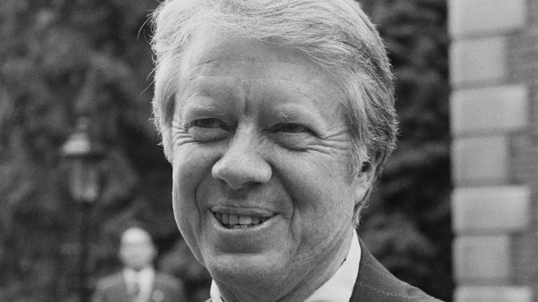 President Jimmy Carter arrivinig at Winfield House