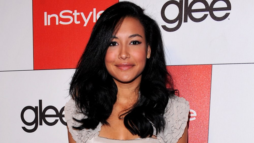 Naya Rivera smiling and posing on the red carpet of a Glee event
