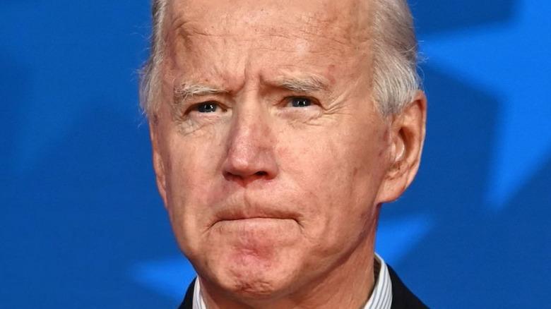 Joe Biden purses his lips at an engagement