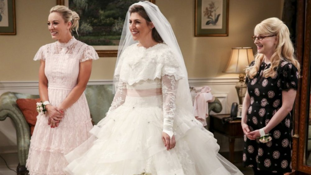 Kaley Cuoco as Penny, Mayim Bialik as Amy, and Melissa Rauch as Bernadette on The Big Bang Theory