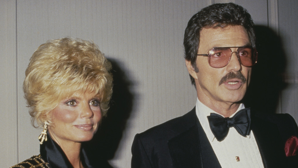 Loni Anderson and Burt Reynolds posing together