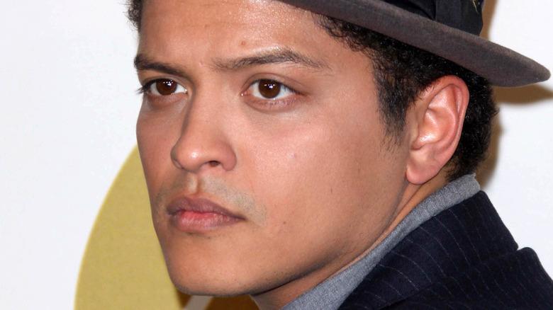 Bruno Mars looking serious