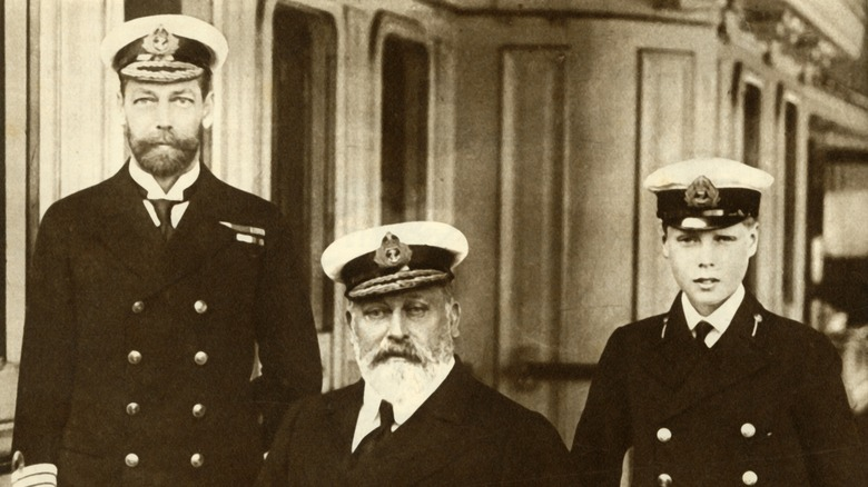 King Edward VII, the future King George V, and the future King Edward VIII posing together