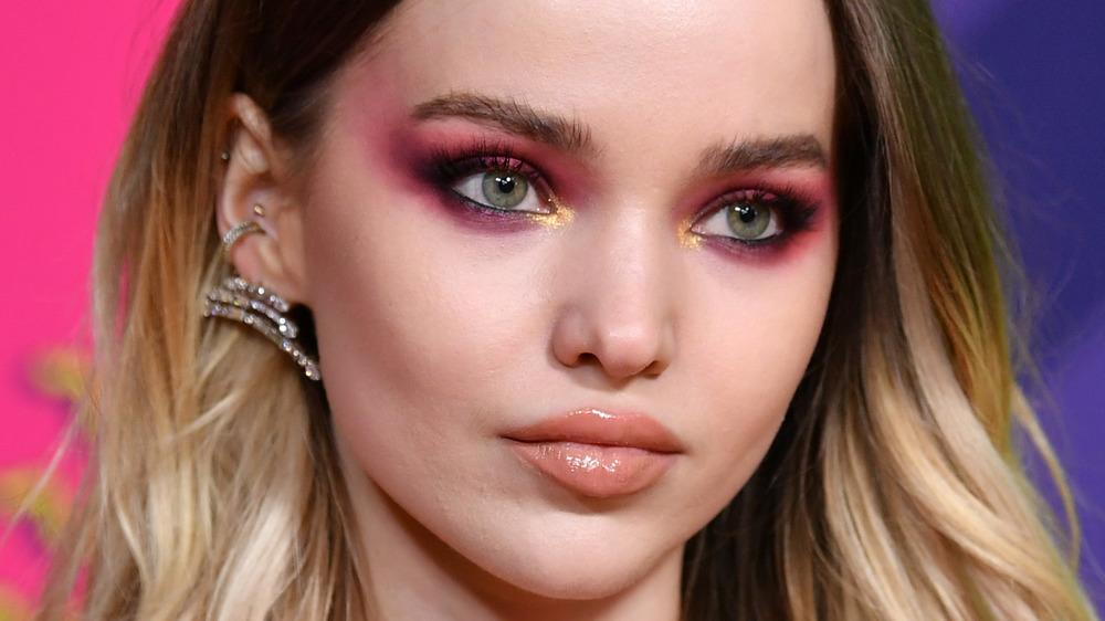 Dove Cameron wears pink eyeshadow