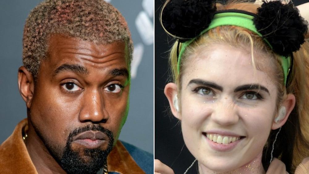 Kanye West staring, Grimes smiling