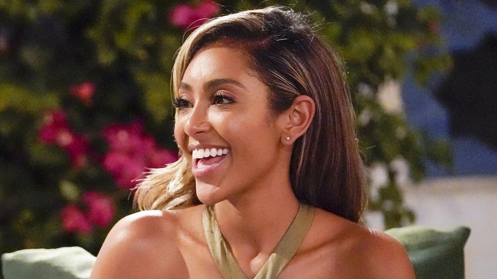 Tayshia Adams profile, smiling on The Bachelorette