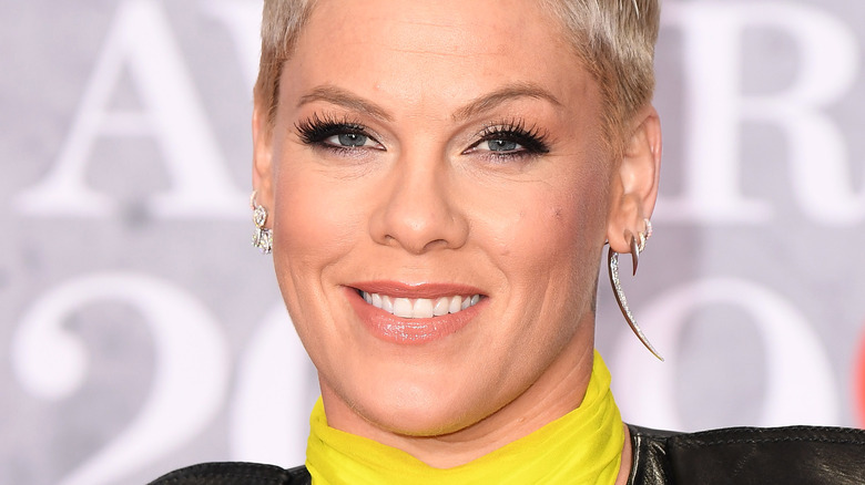 P!nk smiling at a red carpet event