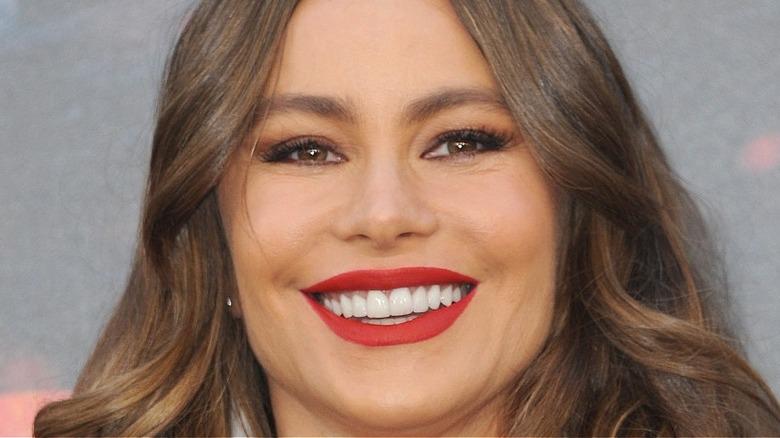 Sofia Vergara smiling with red lip