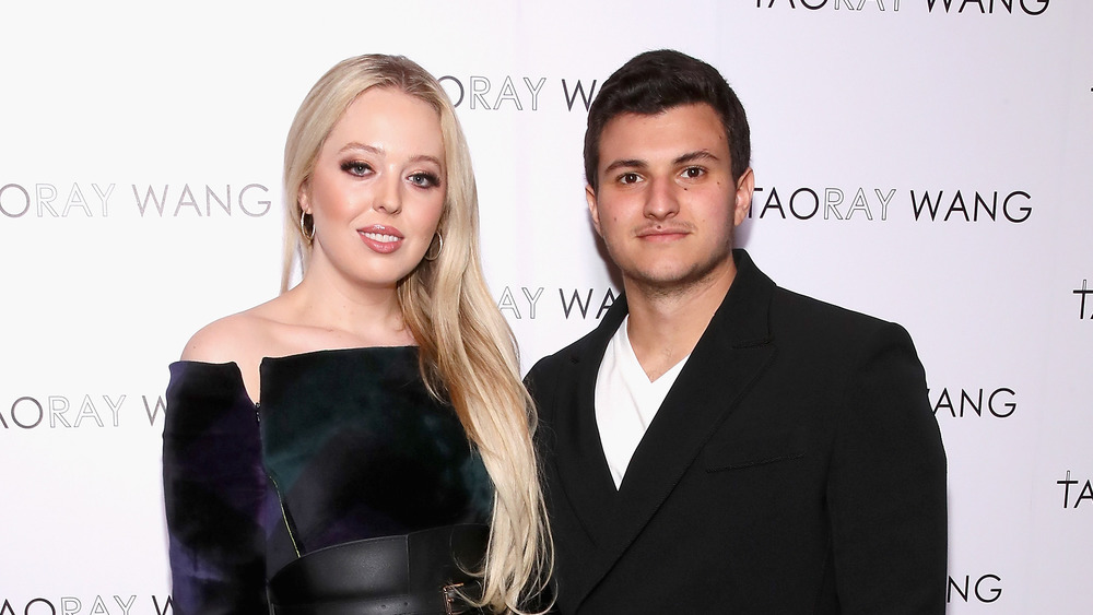 Tiffany Trump and Michael Boulos pose during New York Fashion Week