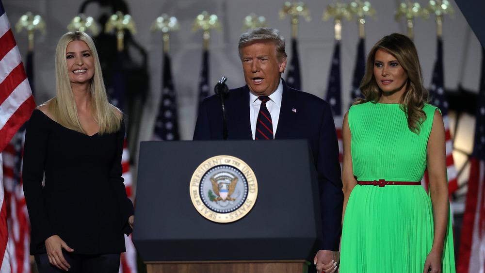 Melania and Ivanka Trump with president Donald Trump