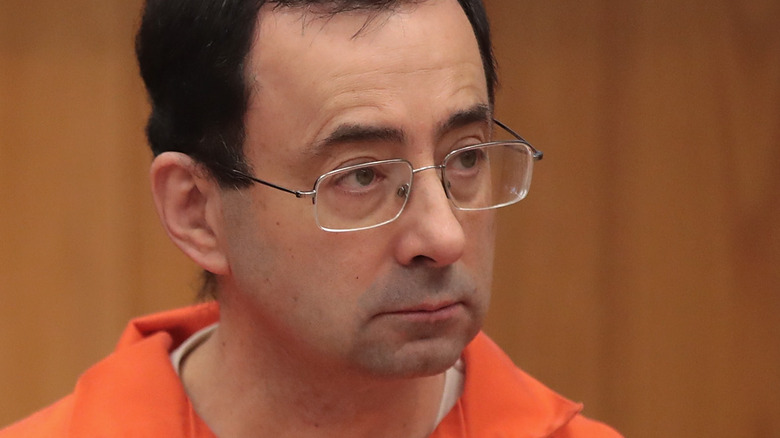Larry Nassar in court with serious expression