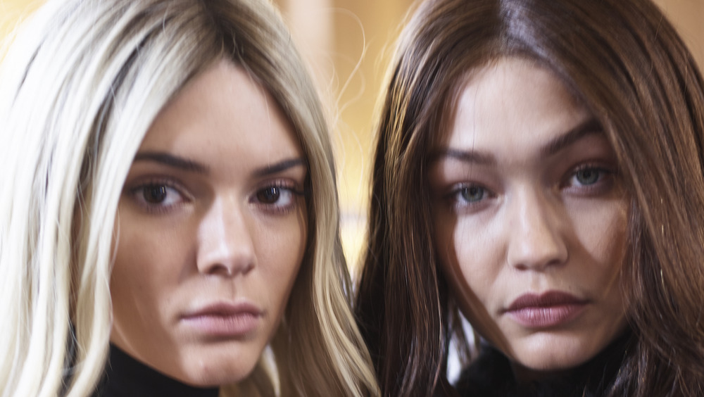 Kendall Jenner and Gigi Hadid looking serious