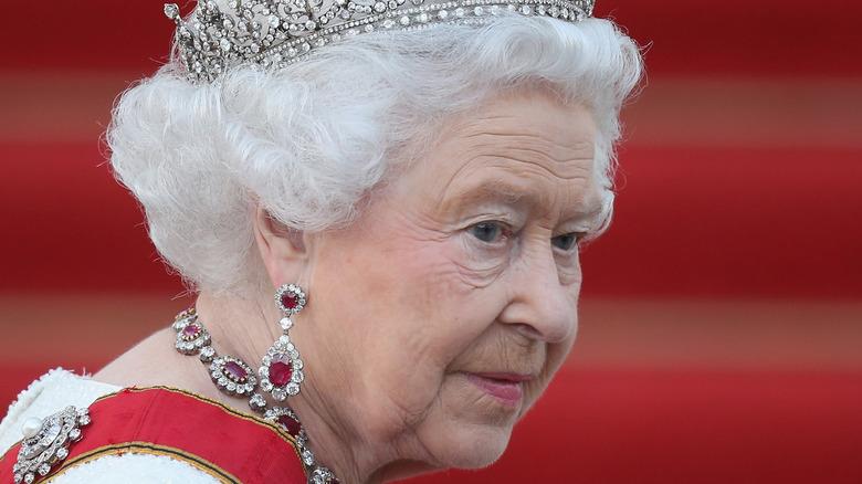 Queen Elizabeth II wearing a crown