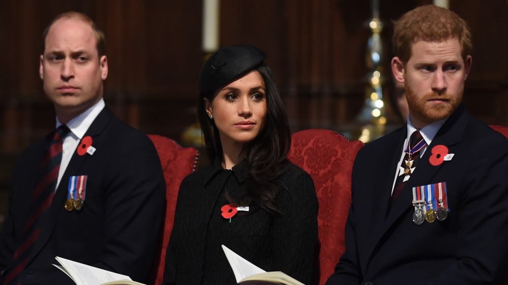 Prince William, Meghan Markle, and Prince Harry at a royal engagement