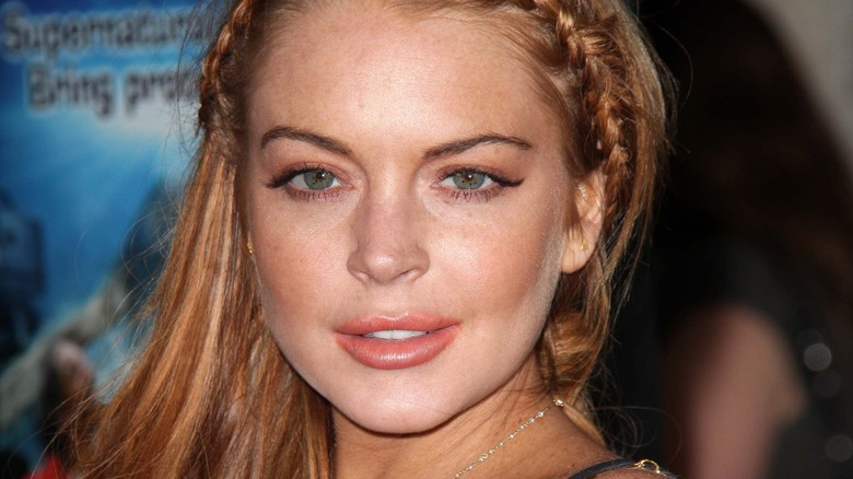 Mean Girls star Lindsay Lohan gazes intently at the camera