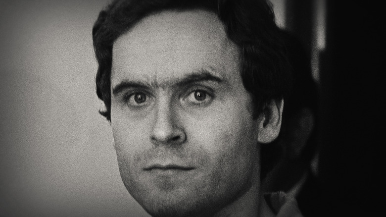 Ted Bundy clean shaven and serious
