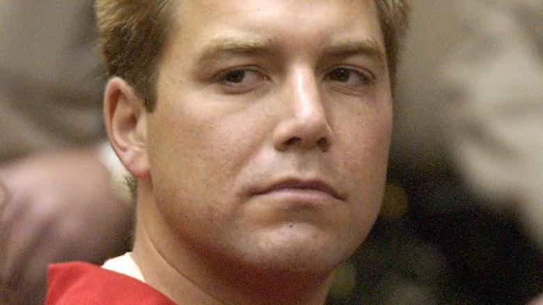 Scott Peterson scowling in court