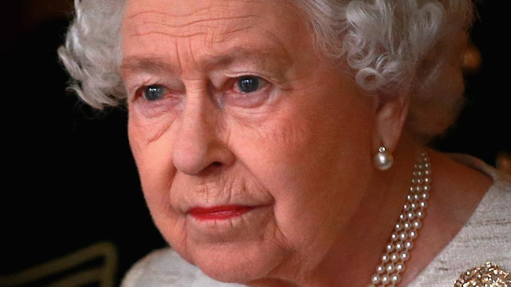 Queen Elizabeth II looking concerned