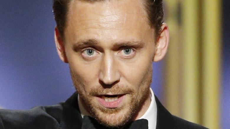 Tom Hiddleston giving speech