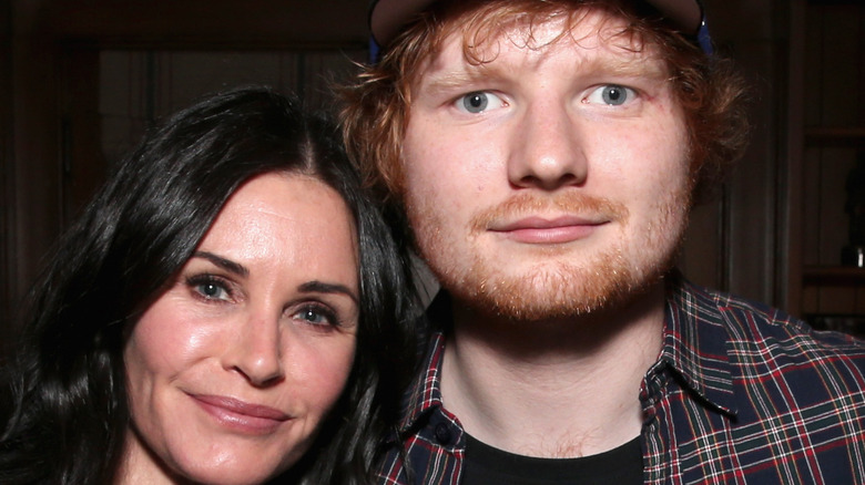 Friends Courteney Cox and Ed Sheeran pose together
