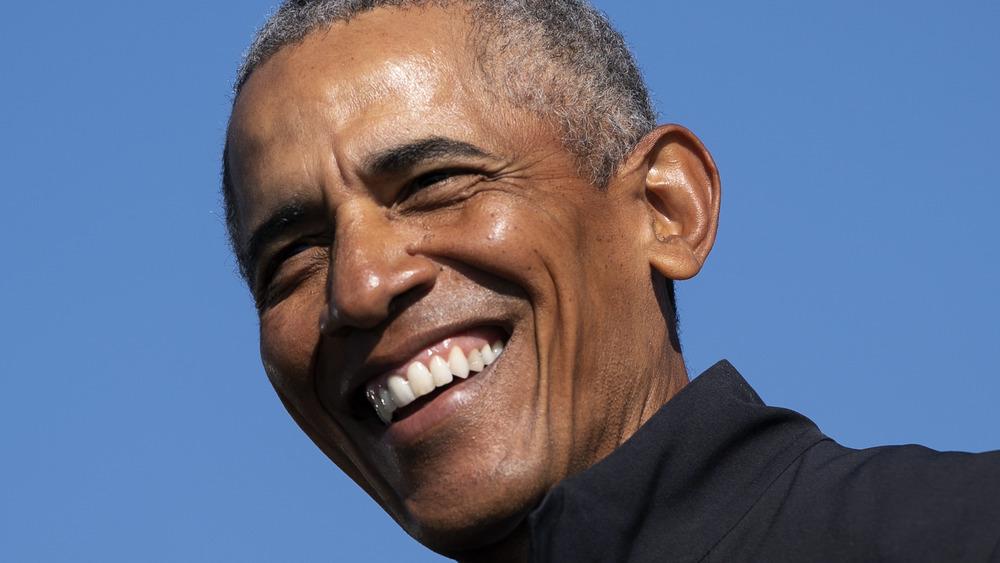 Barack Obama speaking at a campaign event