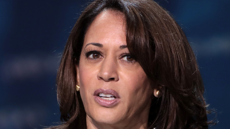 Kamala Harris speaking with attendees at the 2019 California Democratic Party State Convention