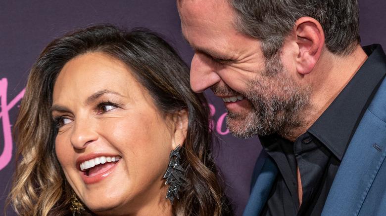 Mariska Hargitay and Peter Hermann laughing together