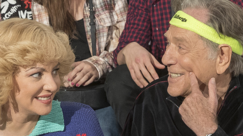 Wendi McLendon-Covey and George Segal in character