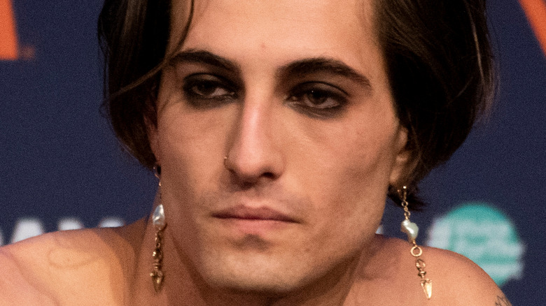 Damiano David from Maneskin at a press conference