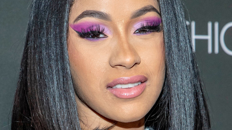 Cardi B with a serious expression