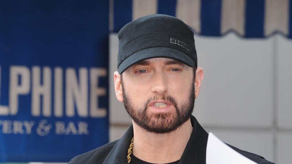 Eminem at a star of fame event